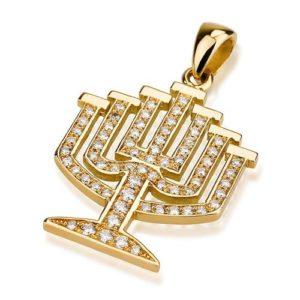 14k Gold Diamond Leveled Menorah Pendant - Baltinester Jewelry