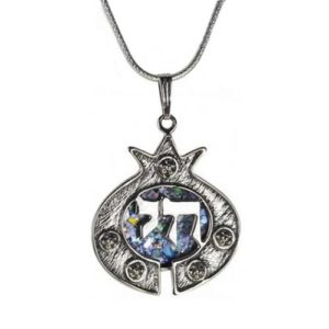 Roman Glass Pomegranate Chai Silver Necklace - Baltinester Jewelry