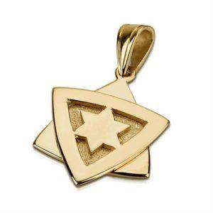 14K Gold Dual Layered Star of David Pendant - Baltinester Jewelry