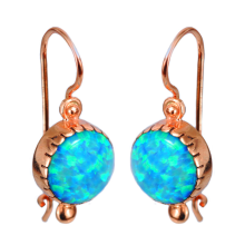 14k Rose Gold & Round Opalite Earrings - Baltinester Jewelry