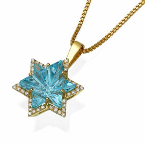 Blue Topaz Diamond Star of David 14k Gold Pendant - Baltinester Jewelry