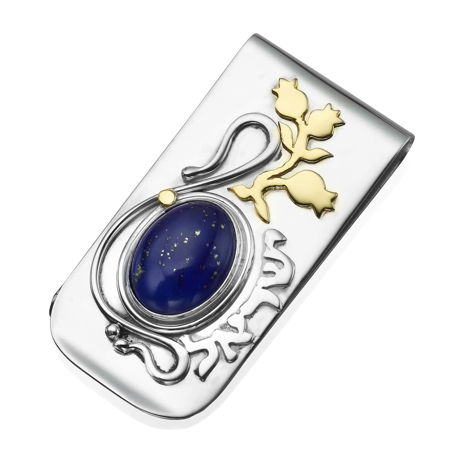 Lapis Lazuli Money Clip Silver and Gold - Baltinester Jewelry