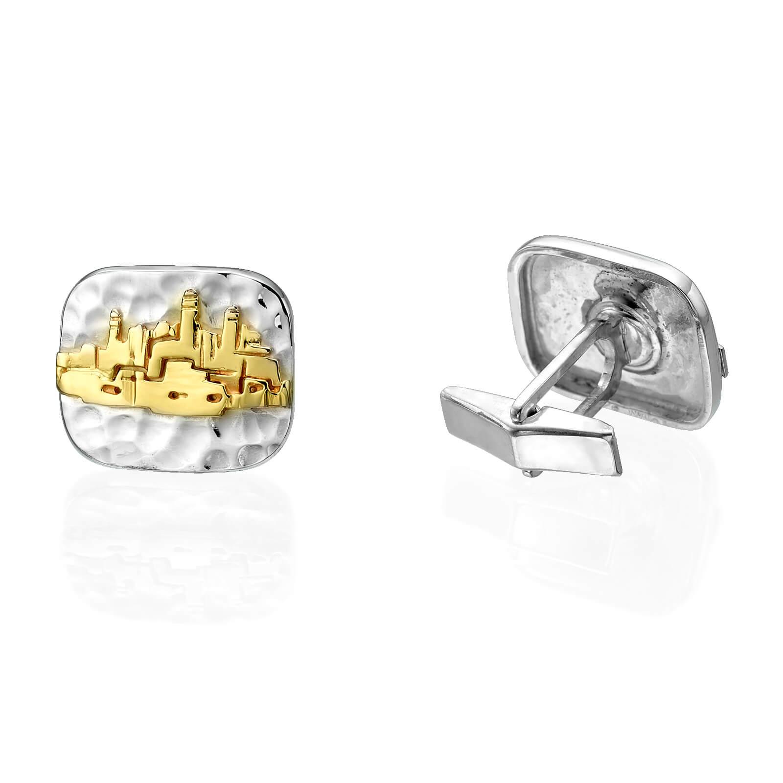 Hammered Silver and Gold Jerusalem Cufflinks - Baltinester Jewelry