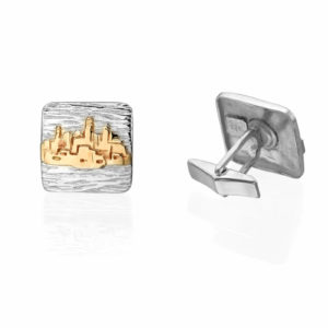 Silver and Gold Jerusalem Square Cufflinks - Baltinester Jewelry
