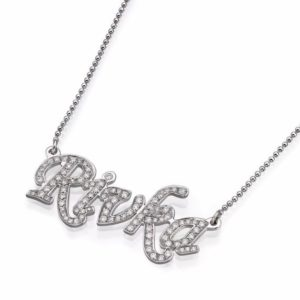 14k White Gold Diamond Name Necklace - Baltinester Jewelry