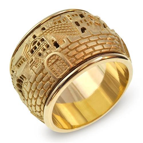 Gold 3D Jerusalem Spinning Ring - Baltinester Jewelry