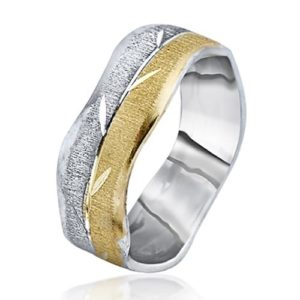 Yellow and White Gold Leaves Wavy Wedding Ring - Baltinester Jewelry