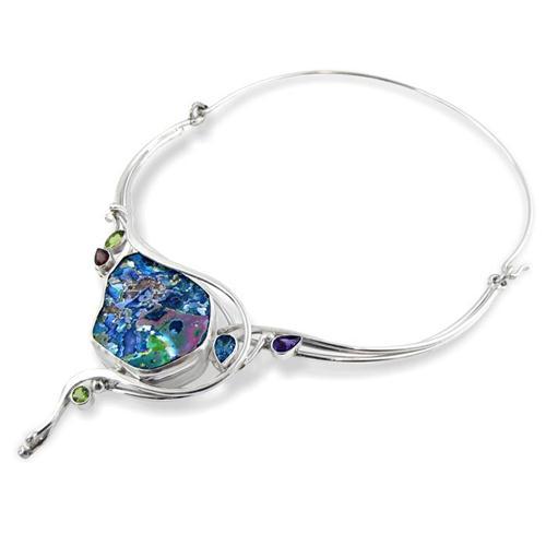 Silver Roman Glass and Semi-Precious Stones Necklace - Baltinester Jewelry