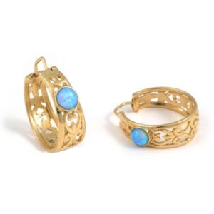 14k Gold Gypsy Opal Earrings - Baltinester Jewelry