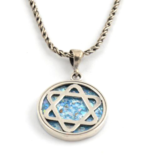 Silver Star of David Roman Glass Necklace - Baltinester Jewelry