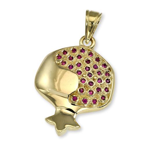 14k Gold and Ruby Pomegranate Jewish Pendant - Baltinester Jewelry