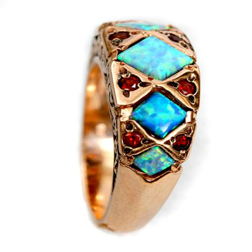 14k Rose Gold Opal and Garnet Ring 3 - Baltinester Jewelry