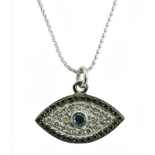14k Gold Diamond & Sapphire Evil Eye Pendant With Chain - Baltinester Jewelry