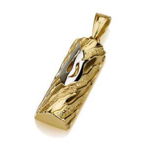 14k Gold Textured Half Cylinder Mezuzah Pendant - Baltinester Jewelry