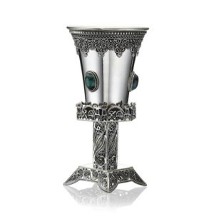 Eilat Stone-encrusted Hexagon Kiddush Cup in Sterling Silver - Baltinester Jewelry
