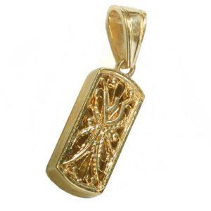 14k Gold Filigree Miniature Mezuzah Pendant - Baltinester Jewelry