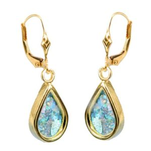 14k Gold Roman Glass Tear Drop Earrings - Baltinester Jewelry