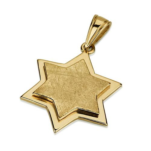 14K Gold Unique Dual Layered Star of David Pendant - Baltinester Jewelry