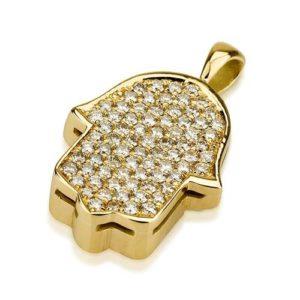 18k Yellow Gold Diamond Jerusalem Hamsa Pendant - Baltinester Jewelry