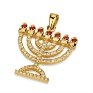 Ruby Diamond Menorah Pendant 14k Yellow Gold - Baltinester Jewelry