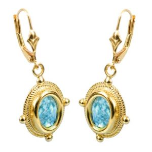 14k Gold Roman Glass Yemenite Design Earrings - Baltinester Jewelry