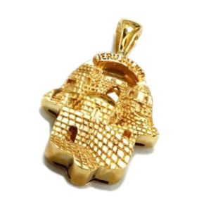 14k Gold 3D Old City Jerusalem Hamsa Pendant - Baltinester Jewelry