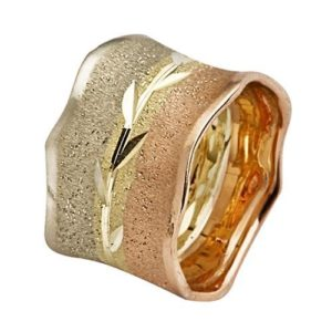 Tri-Color Gold Wide Leaf Wedding Ring - Baltinester Jewelry