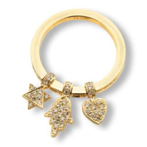 14k Gold Diamond Charm Ring - Baltinester Jewelry