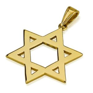 14k Gold Classic Flat Star of David Pendant - Baltinester Jewelry