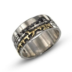 Silver and 14k Gold Vintage Inspired Jerusalem Ring - Baltinester Jewelry