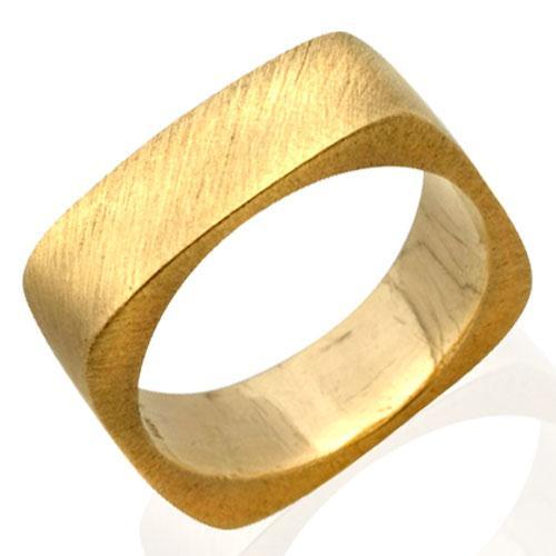 14k Brushed Yellow Gold Kabbalah Wedding Ring - Baltinester Jewelry