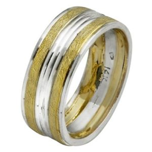Two Tone Gold Striped Wedding Ring - Baltinester Jewelry