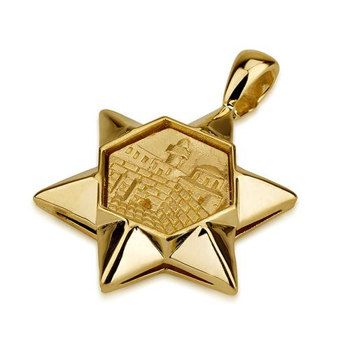 14k Gold 3D Jerusalem Star of David Pendant - Baltinester Jewelry