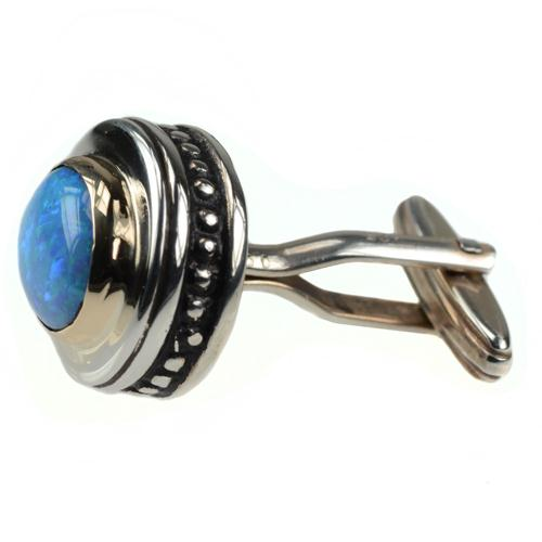 Silver & Gold Opalite Cufflinks 3 - Baltinester Jewelry