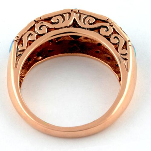 14k Rose Gold Opal and Garnet Ring 2 - Baltinester Jewelry