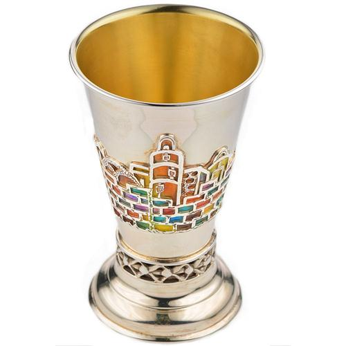 Silver Jerusalem Multicolored Enamel Kiddush Cup - Baltinester Jewelry