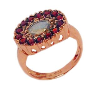 14k Rose Gold Garnets and Labradorite Ring - Baltinester Jewelry