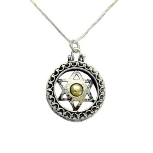 Silver and Gold Star of David Safeguard Kabbalah Necklace - Baltinester Jewelry