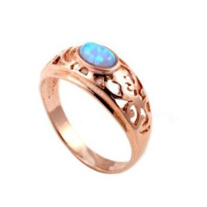 14k Rose Gold Opal Modern Filigree Ring - Baltinester Jewelry