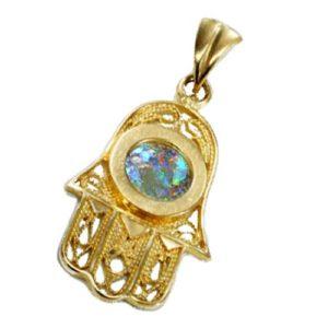 14k Gold Roman Glass Filigree Hamsa Pendant - Baltinester Jewelry