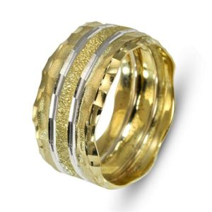 Faceted 14k Gold Two Tone Florentine Wedding Band - Baltinester Jewelry
