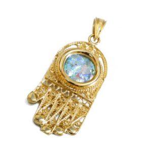 14k Gold Filigree Roman Glass Hamsa Pendant - Baltinester Jewelry