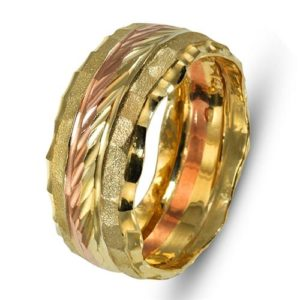 14k Yellow and Rose Gold Florentine Wedding Ring - Baltinester Jewelry