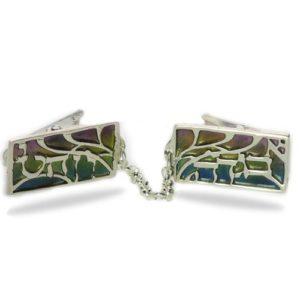 Enamel Rainbow Alef Bet Silver Tallis Clips - Baltinester Jewelry
