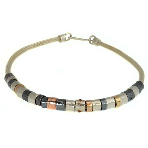 Tricolor Silver and Gold Oxidized Necklace 3 - Baltinester Jewelry