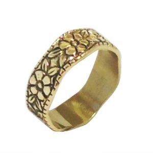 14k Yellow Gold Antique Style Rose Ring - Baltinester Jewelry