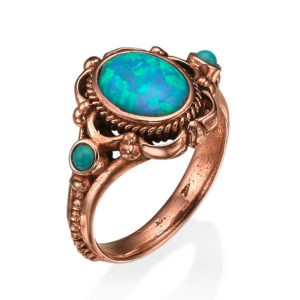 Ornate Rose Gold Opal Ring - Baltinester Jewelry