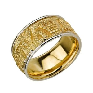 14k Gold Wide Rounded Jerusalem Ring - Baltinester Jewelry