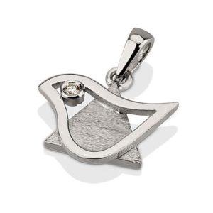 18k Gold Dove of Peace Diamond Star of David Pendant Small - Baltinester Jewelry