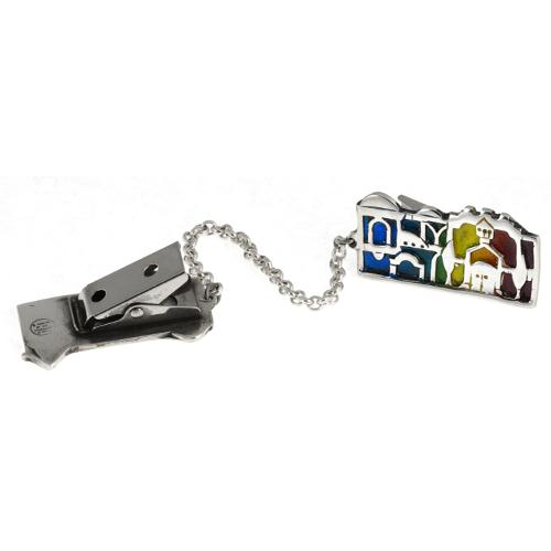 Silver Jerusalem Enamel Tallit Clip 3 - Baltinester Jewelry
